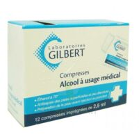 ALCOOL A USAGE MEDICAL GILBERT 2,5 ml Compr imprégnée 12Sach à TOULENNE