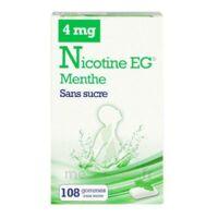 Nicotine EG 4 mg Gomme à mâcher médicamenteuse sans sucre menthe édulcorée à l'acésulfame potassique et saccharine Plq/108 à TOULENNE