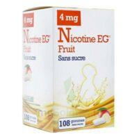 Nicotine EG 4 mg Gomme à mâcher médicamenteuse sans sucre fruit édulcorée à l'acésulfame potassique et saccharine Plq/108 à TOULENNE